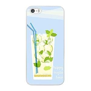 Funda carcasa TPU Gel para Apple iPhone 5 5S diseño coctel happy mojito borde blanco