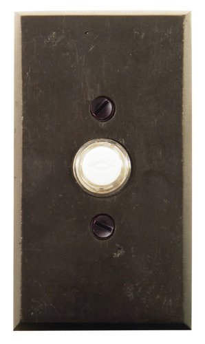 "Emtek 2423 4-1/2"" Height Rectangular Style Bronze Lighted Doorbell Rosette from, Flat Black"