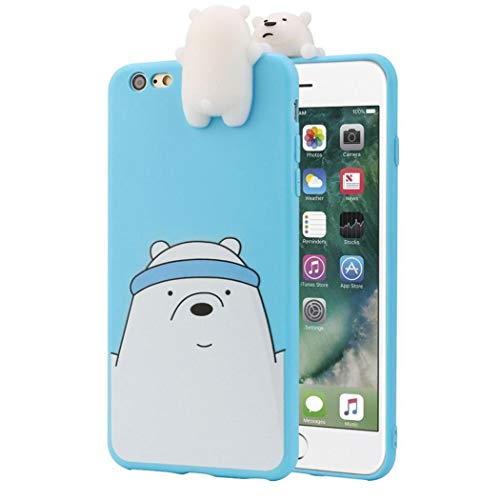 Afus BIG SALE 3D Cartoon Animals Cute We Bare Bears Soft Silicone Case Cover Skin For IPhone Candy Colour Lovely Girly Bear Design (iphone xr 6.1, Blue)