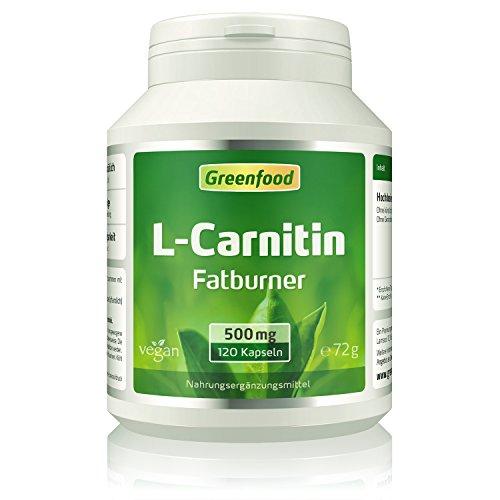 Greenfood L-Carnitin, 500mg, hochdosiert, 120 Kapseln - der König der Fettburner