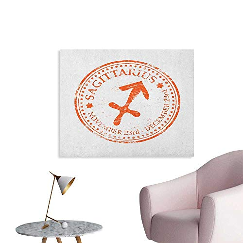 Anzhutwelve Zodiac Sagittarius Photographic Wallpaper Grunge Sagittarius Logo with Stars Pattern Constellation Theme Art Poster Orange and White W28 xL20 -