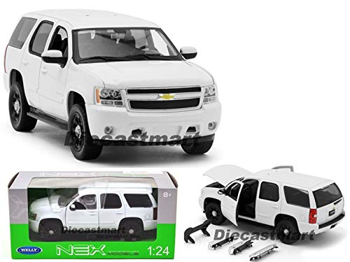 1:24 2008 Chevrolet Tahoe Police Version DIECAST Model CAR UNMARKED New (White) (Tahoe Model Cars)
