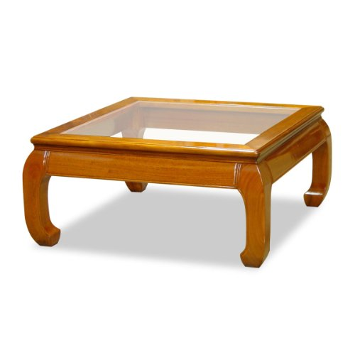 Rosewood Furniture China (China Furniture Online Rosewood Coffee Table, 36 Inches Ming Style Square Table with Glass Top Natural Finish)