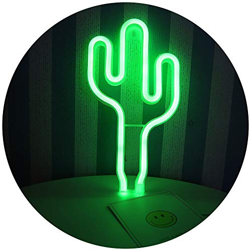 Pooqla LED Cactus Neon Light Sign Wall Decor Night Lights Home Decoration Party Supplies LED Decorative Lights
