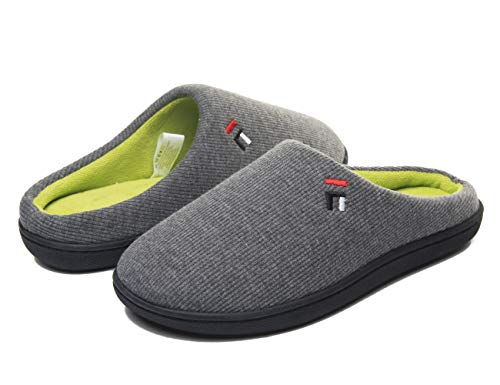 FOOTTECH Mens Memory Foam House Slippers Cozy Soft Home Shoes Anti Skid Indoor Outdoor Slip On Slipper (Women|US7-8, Women-Marl Grey)