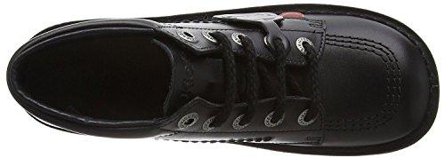 Black School Lace Core Kick Up Boots Leather Kickers Unisex Hi 8tZwqqp