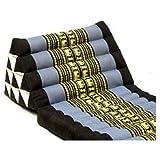 タイのゾウさん刺繍三角アジアンクッション(4段・マット3本付き) アジアン家具・モダンインテリア (黒×ブルーグレー)
