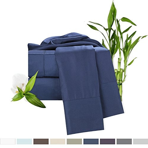 Bamboo Bed Sheet Set, Blue (Navy) King Size, By Clara Clark, 100% Rayon Made From Bamboo Sheets, Luxury Super Silky Soft With Extra Thick Corner Elastic Straps On Fitted Sheet, Machine Washable (Clara Clark Silk Sheets)