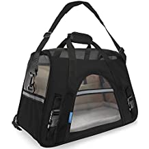 OxGord Airline Approved Pet Carriers w/ Fleece Bed For Dog & Cat - Large, Soft Sided Kennel - 2016 Newly Designed Model, Onyx Black