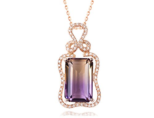 KEETEEN Colorful Life Sterling Silver Necklace with Princess Cut Pendant Necklace in Various Simulated Gemstones for Women (10.0ct Tourmaline)