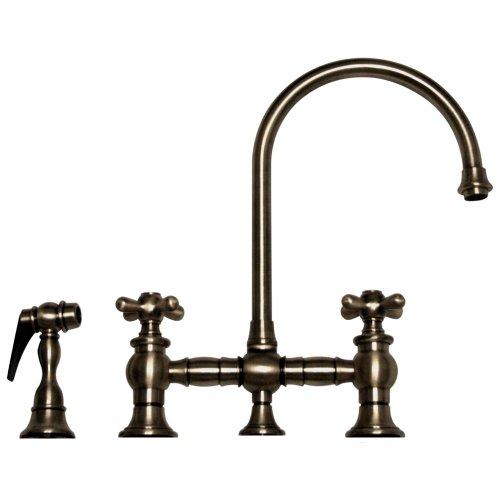 Gooseneck Spout Bridge Faucet (Whitehaus WHKBCR3-9101-PTR Vintage Iii 8 1/8-Inch Bridge Faucet with Long Gooseneck Swivel Spout, Cross Handles and Solid Brass Side Spray, Pewter)