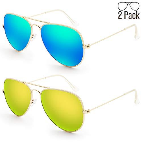 (Livhò G Sunglasses for Men Women Aviator Polarized Metal Mirror UV 400 Lens Protection (Blue Green + Gold Gold))