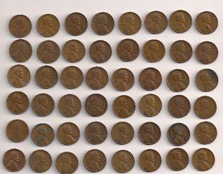 50 Wheat Pennies 1909-1958 No Duplicates (1909 Wheat Penny)