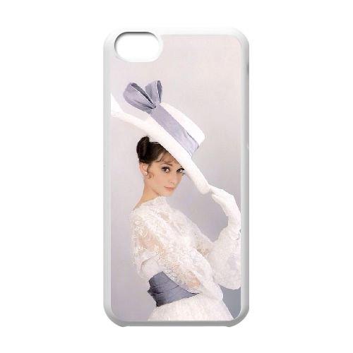 Audrey Hepburn coque iPhone 5C Housse Blanc téléphone portable couverture de cas coque EBDOBCKCO13370