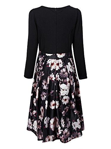 Midi Dress Print Elegant Long Floral Gray Patchwork Elegant Sleeve Floral qgnRBW7