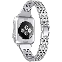 Secbolt Slim Bling Bands Compatible Apple Watch Band 38mm 40mm iWatch Series 4, Series 3, Series 2, Series 1, Diamond Rhinestone Metal Jewelry Wristband Strap, 4 Colors Available