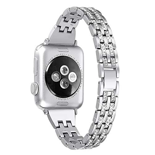 Secbolt Bling Bands Compatible Apple Watch Band 38mm 40mm iWatch Series 3, Series 2, Series 1, Diamond Rhinestone Metal Jewelry Wristband Strap, Silver