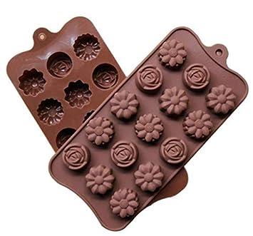 Best-Bag - Molde de silicona reutilizable con forma de flor y rosa para chocolate, 15 agujeros, para hacer gelatina, para hornear hielo, hecho a mano: ...