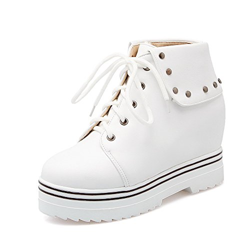 Allhqfashion Mujeres Soft Material Round Cerrado Dedo Sólido Low-top High-heels Botas Blanco