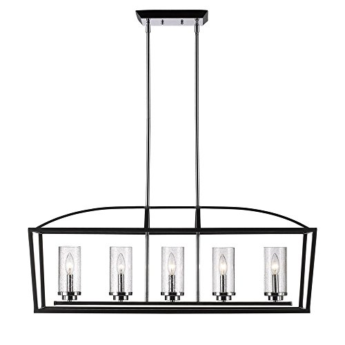Golden Lighting 4309-LP BLK-SD Mercer 5-Light Linear Pendant in Black with Seeded Glass