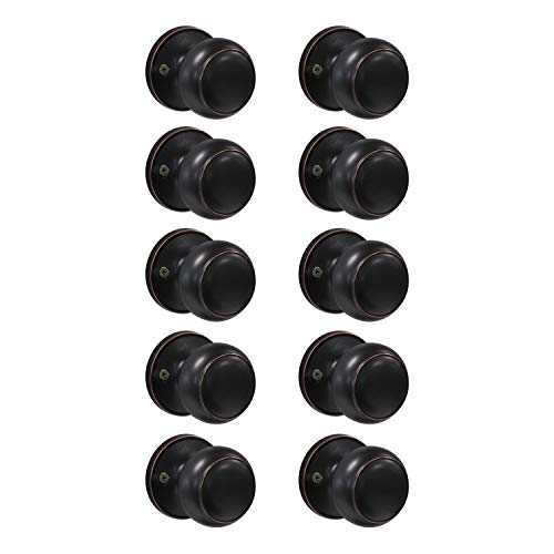 10 Pack Classic Antique Style Door Knob, Individual Dummy Door Knob Round Shape, Oil-Rubbed Bronze Finish, Easy Installation