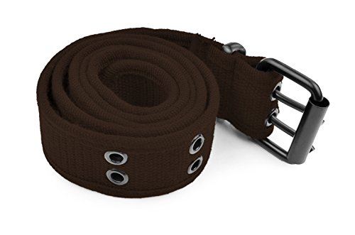 Unisex Double Grommet Adjustable Canvas Belt Brown XL (Womens Grommet)