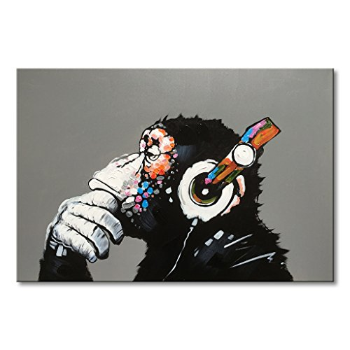 Everfun Music Monkey Oil Painting Animal Canvas Wall Art Hand Painted Modern Gorilla Picture Abstract Thinking Chimp Artwork Black Home Decor Ready to Hang 20x24 inch ()