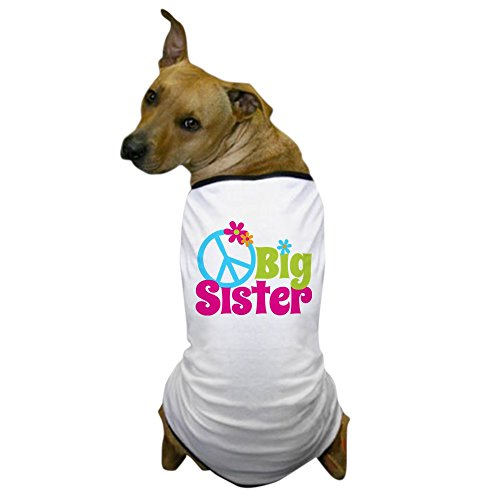 CafePress - Peace Sign Big Sister Dog T-Shirt - Dog T-Shirt, Pet Clothing, Funny Dog Costume - Trendy Sign Peace