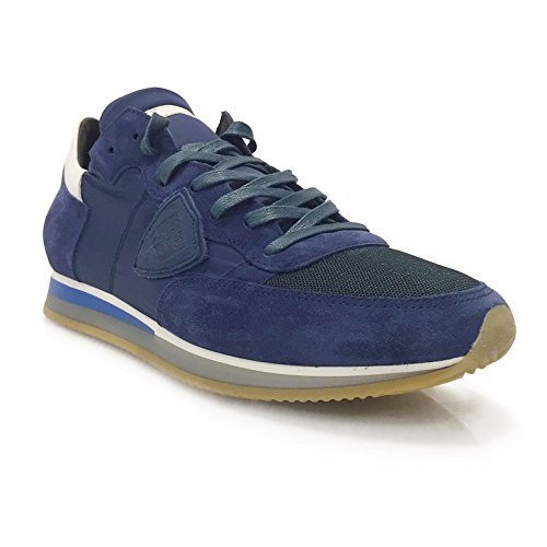 Designer Low Hochwertige Philippe U Stoff L Blau Weiß aus Mondial Herren Blanc Sneaker Bleu Tropez Leder und Model Sneaker qvatvHP
