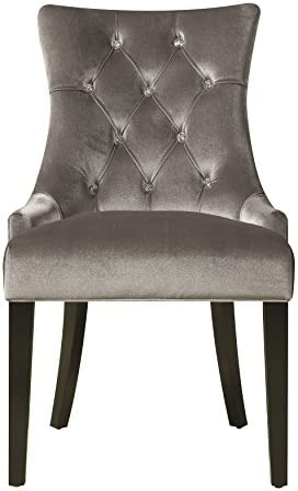Pulaski Upholstered Button Tufted Dining Chair Silver Chrome Velvet Amazon Ca Home Kitchen
