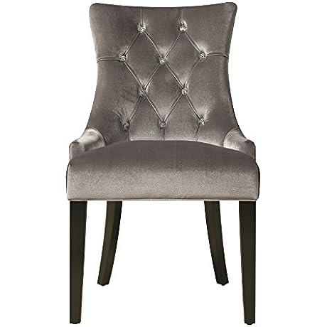 Pulaski Upholstered Button Tufted Dining Chair Silver Chrome Velvet