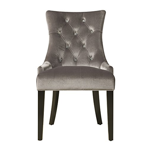 (Pulaski Upholstered Button Tufted Dining Chair, Silver Chrome Velvet)