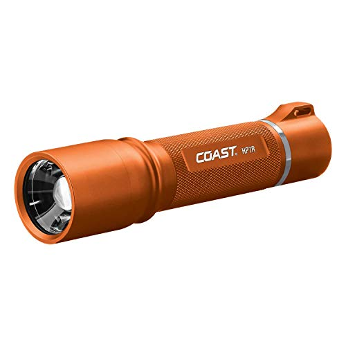 COAST HP7R 300 Lumen Rechargeable LED Flashlight with Slide Focus, Orange