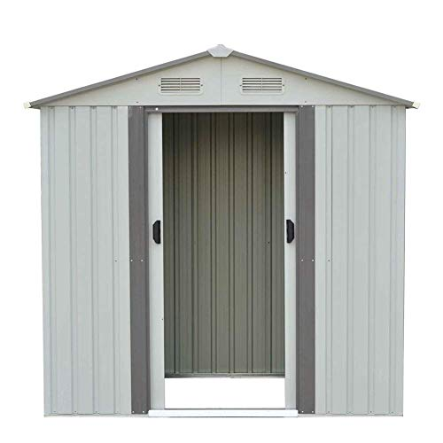 SUNCROWN Outdoor Garden Storage Shed Green 4X6 FT Yard Storage Tool with Sliding Door for Lawn Equipment Garden Backyard – White