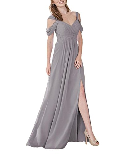Firose Women's Off Shoulder Long Chiffon Greenery Bridesmaid Dresses (18 Colors Available) 10 Grey