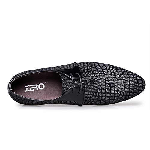 ZRO Men's Pointed Toe Suede Leather Dress Shoes Casual Oxford BLACK US 8.5