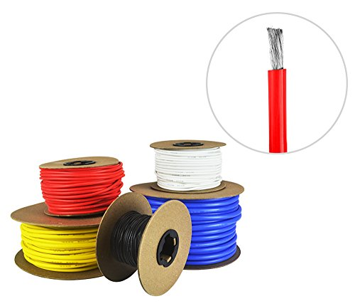 6 AWG Gauge Silicone Wire - Fine Strand Tinned Copper - 50 Feet Red ...