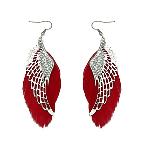 Clearance! Elogoog Fashion Jewelry 11cm Angel Metal Wing Bohemian Handmade Vintage Feather Long Drop Earrings - Studs Metal Enamel