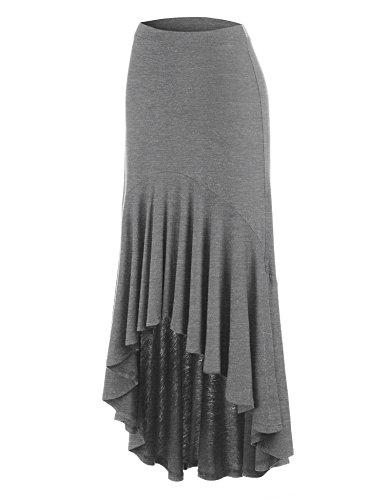 Made By Johnny MBJ WB1132 Womens Asymmetrical High Low Ruffle Hem Skirt L Heather_Dark_Grey