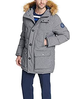 Tommy Hilfiger Men's Arctic Cloth Full Length Quilted Snorkel with Removable Faux Fur Trimmed Hood and Ultra Loft Isulation, Heather Grey, L (B01L0AYMW0) | Amazon price tracker / tracking, Amazon price history charts, Amazon price watches, Amazon price drop alerts