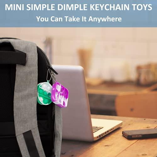 2 Pack Mini Pop Fidget Dimples Toys,Small Cheap Simple Dimple Fidget Toys Keychain Push Bubble Fidget Pop Desk Toy,Anxiety Stress Reliever Hand Toys,Simple Dimple Fidget Pack for Kids(Purple+Green)