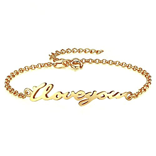 Women Personalized Name Bracelet and Anklet Nameplated 925 Sterling Silver 14K Gold Plated Custom Made with Any Names Anniversary Gift for Girls (Golden) by MissNity