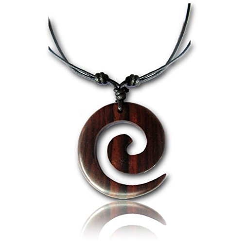 Earth Accessories Adjustable Spiral Pendant Necklace with Organic Wood