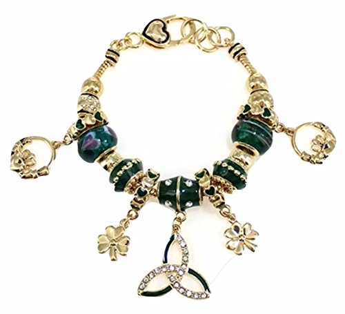 Irish Claddagh Heart Clover Charm Toggle - Green Gold Claddagh Charm Shopping Results