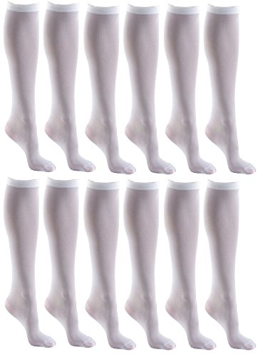 Women's Trouser Socks, 12 Pairs, Opaque Stretchy Nylon Knee High, Many Colors Bulk (12 Pairs White)