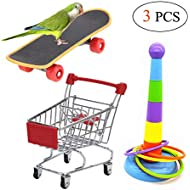 3PCS Parrot Toys Mini Shopping Cart Training Rings Skateboard Stand Perch for Budgie Parakeet Cockatiel Conure Lovebird