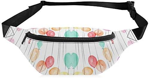 水彩マルチ風船-誕生日 ウエストバッグ ショルダーバッグチェストバッグ ヒップバッグ 多機能 防水 軽量 スポーツアウトドアクロスボディバッグユニセックスピクニック小旅行
