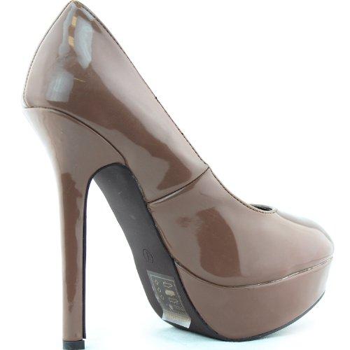 Pompes Pour Femmes Plate-forme Talons Aiguilles En Cuir Verni Stilettos Bout Rond Chaussures De Mode Blush