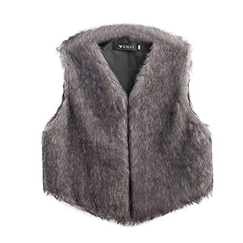 (Besde Women's Faux Fur Vest Sleeveless Long Hair Jacket)