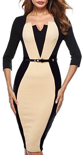 la Vintage Rodilla 4 de B405 Negro Mujer Longitud 3 Formal Mangas Apricot HOMEYEE Vestido Bodycon p5a0qWa